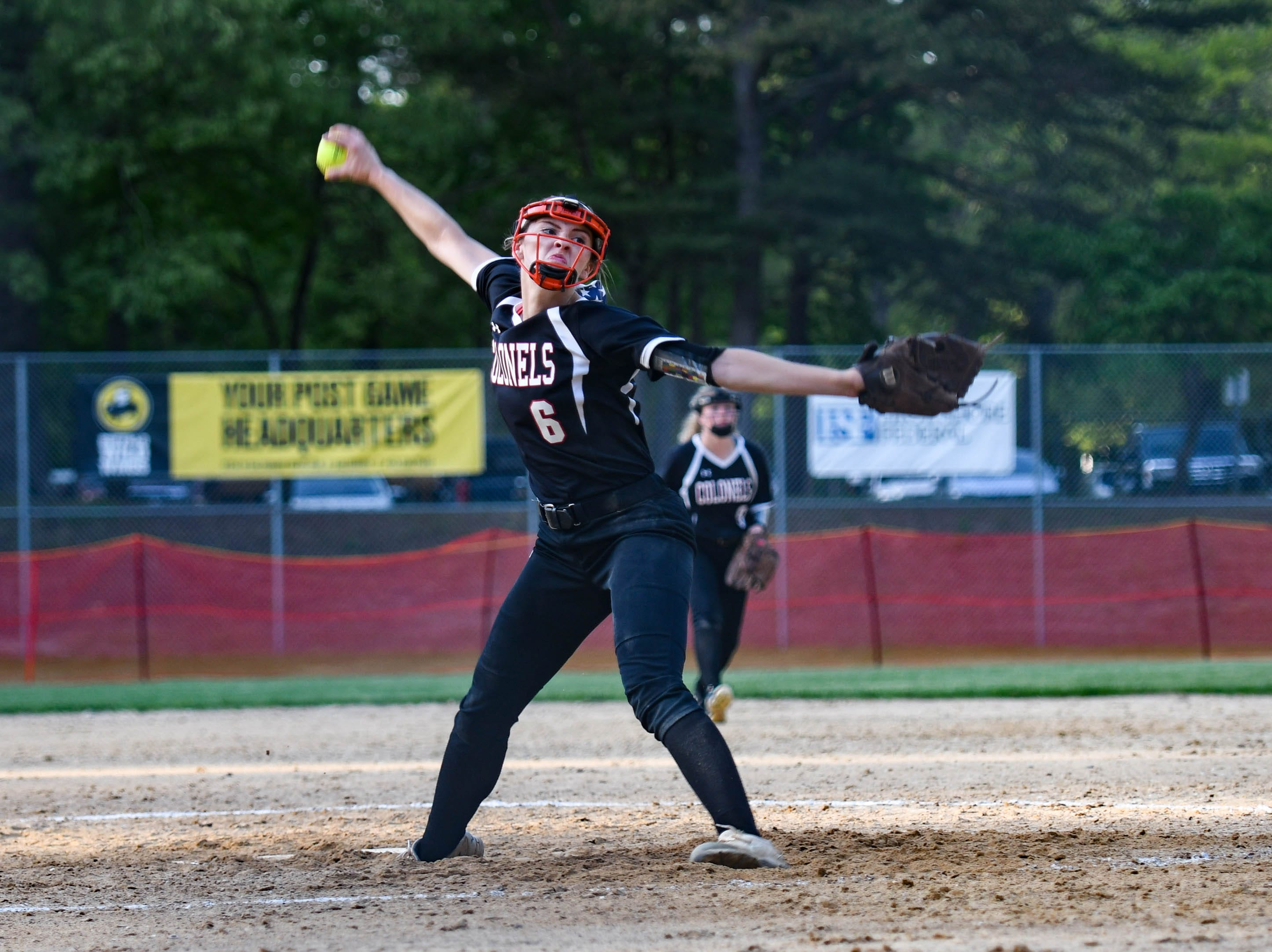 Colonel Richardson's Jen Larrimore (6) pitches against Decatur in the Bayside Softball Championship game on Wednesday, May 8, 2019. Decatur prevailed with a score of 4 to 1.