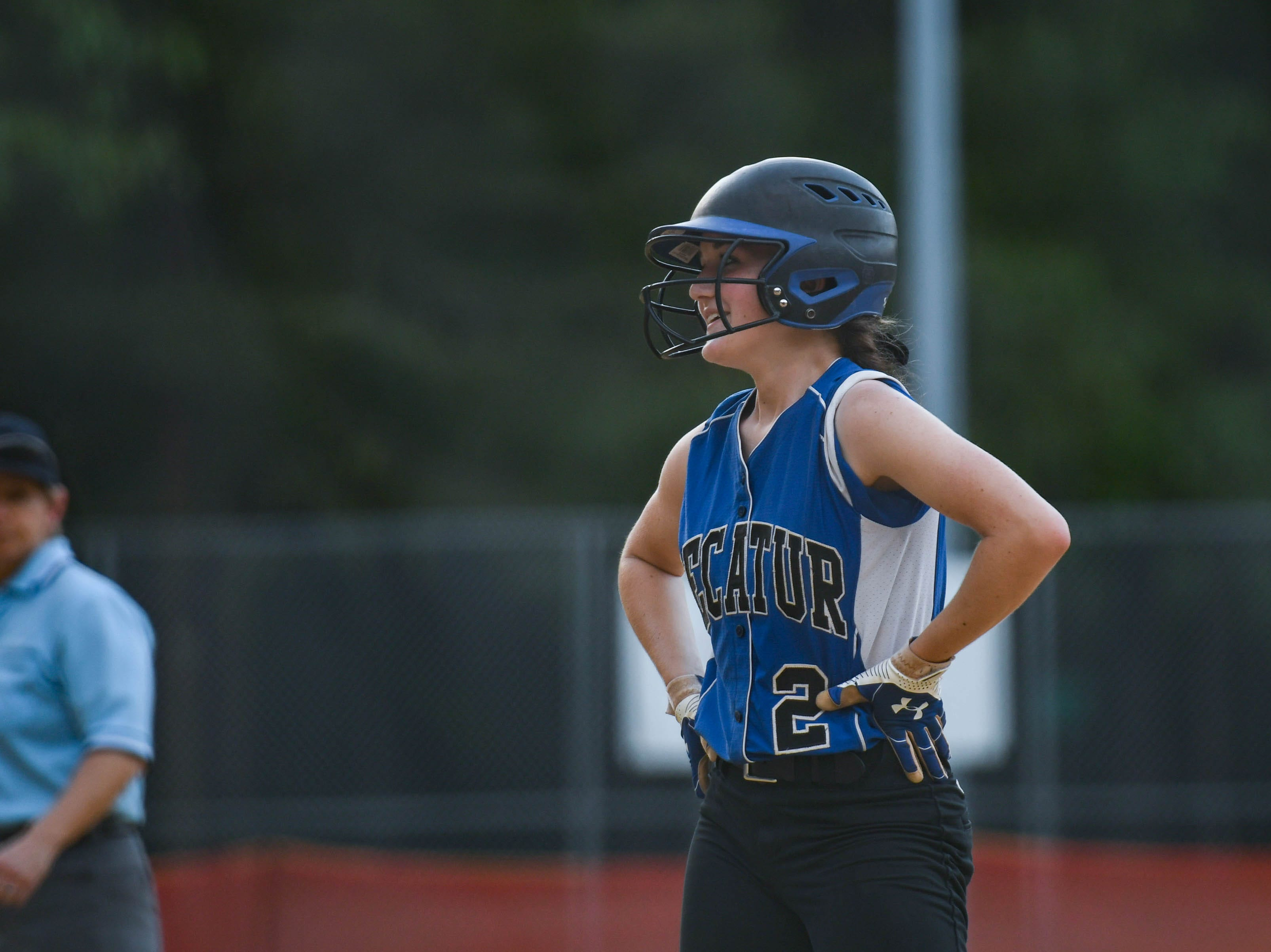 Decatur's Skylar Griffin (2) smiles after hitting a triple against Colonel Richardson in the Bayside Softball Championship game on Wednesday, May 8, 2019. Decatur prevailed with a score of 4 to 1.