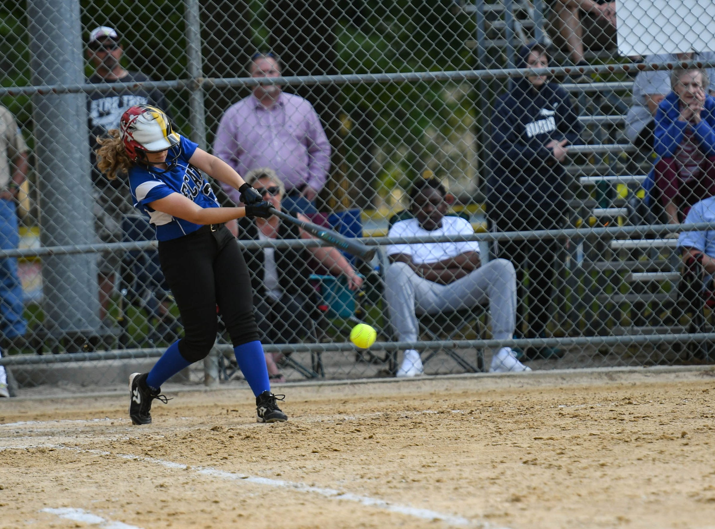Decatur's Katie Wrench (38) hits against Colonel Richardson in the Bayside Softball Championship game on Wednesday, May 8, 2019. Decatur prevailed with a score of 4 to 1.