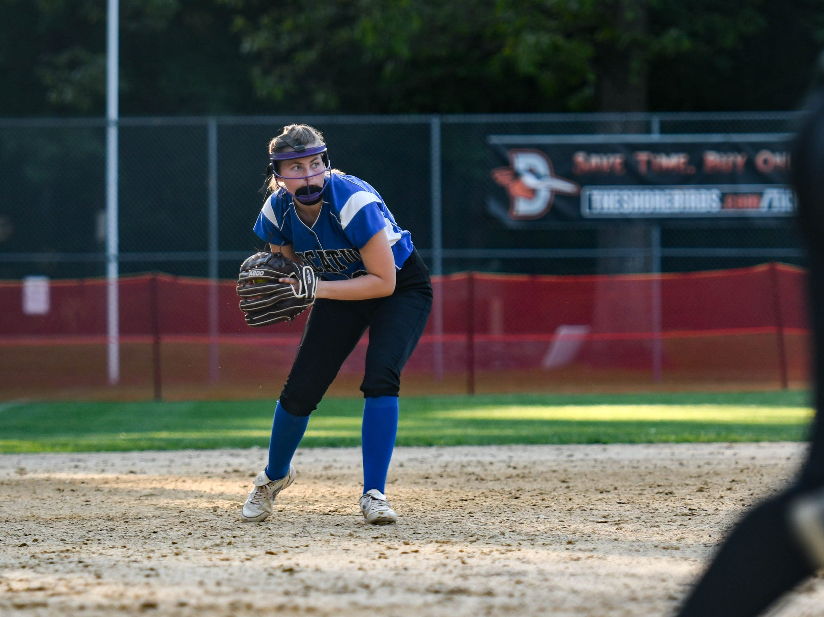 Decatur's Zoe Rayne (20) fields a ball against Colonel Richardson in the Bayside Softball Championship game on Wednesday, May 8, 2019. Decatur prevailed with a score of 4 to 1.