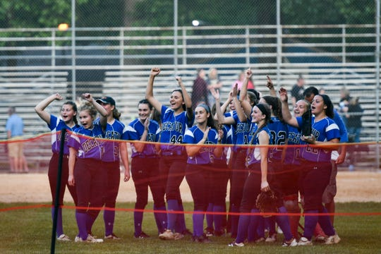 Stephen Decatur celebrates shortly after winning the Bayside Softball Championship game against Colonel Richardson on Wednesday, May 8, 2019.