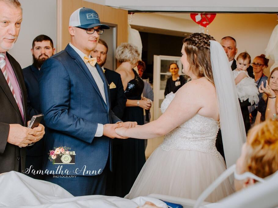 Zachary Wheatley and Rebecca Wheatley were married for the second time at Peninsula Regional Medical Center so Rebecca's grandmother could be part of the wedding.