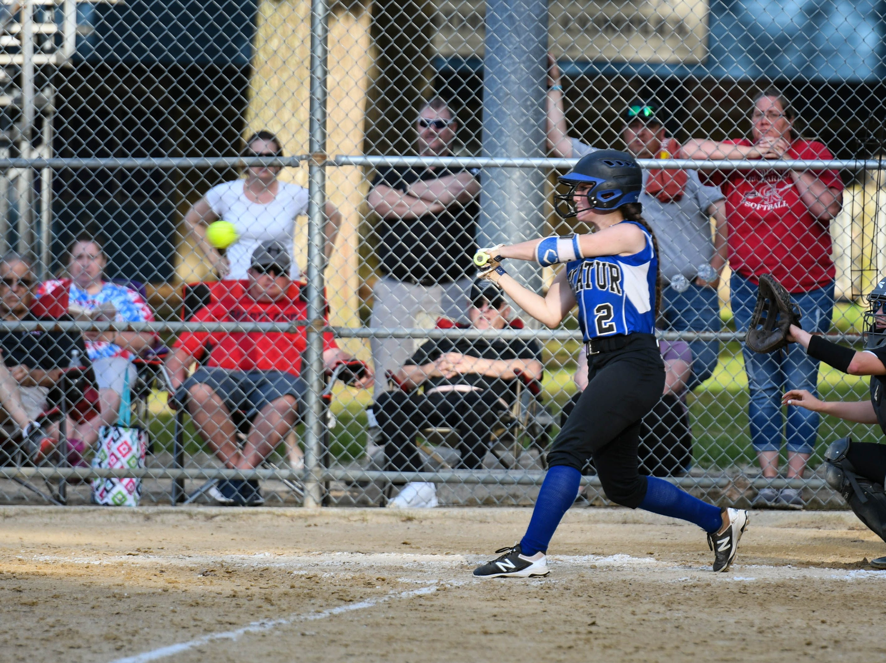 Decatur's Skylar Griffan (2) bats up against Colonel Richardson in the Bayside Softball Championship game on Wednesday, May 8, 2019. Decatur prevailed with a score of 4 to 1.