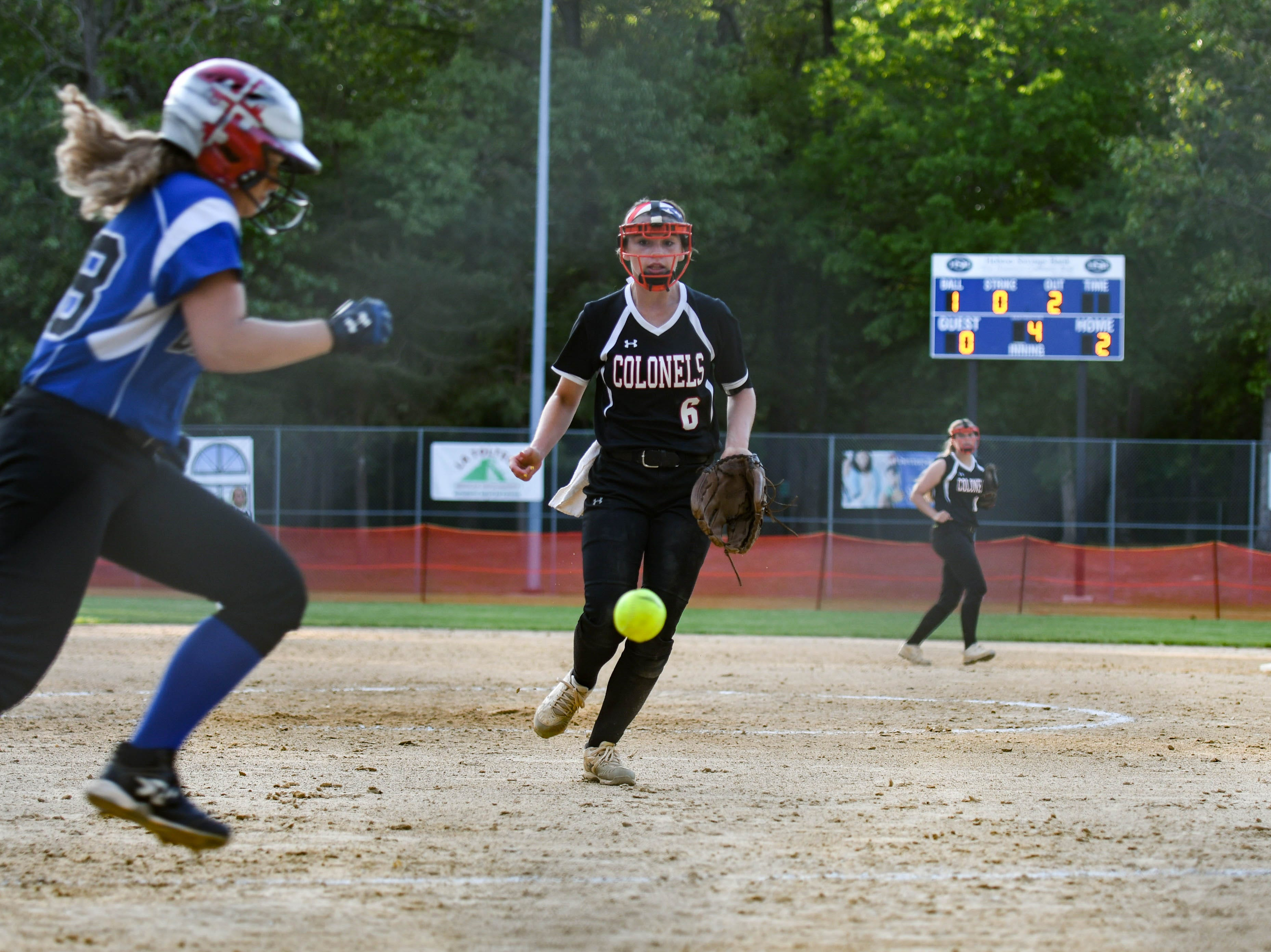 Colonel Richardson's Jen Larrimore (6) fields the ball against Decatur in the Bayside Softball Championship game on Wednesday, May 8, 2019. Decatur prevailed with a score of 4 to 1.