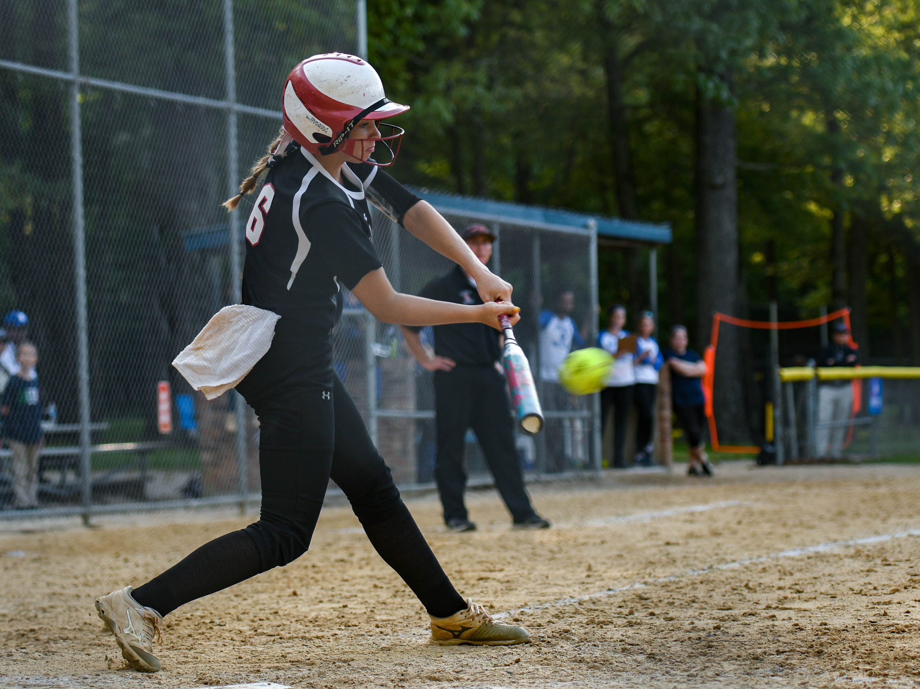 Colonel Richardson's Jen Larrimore (6) bats up against Decatur in the Bayside Softball Championship game on Wednesday, May 8, 2019. Decatur prevailed with a score of 4 to 1.