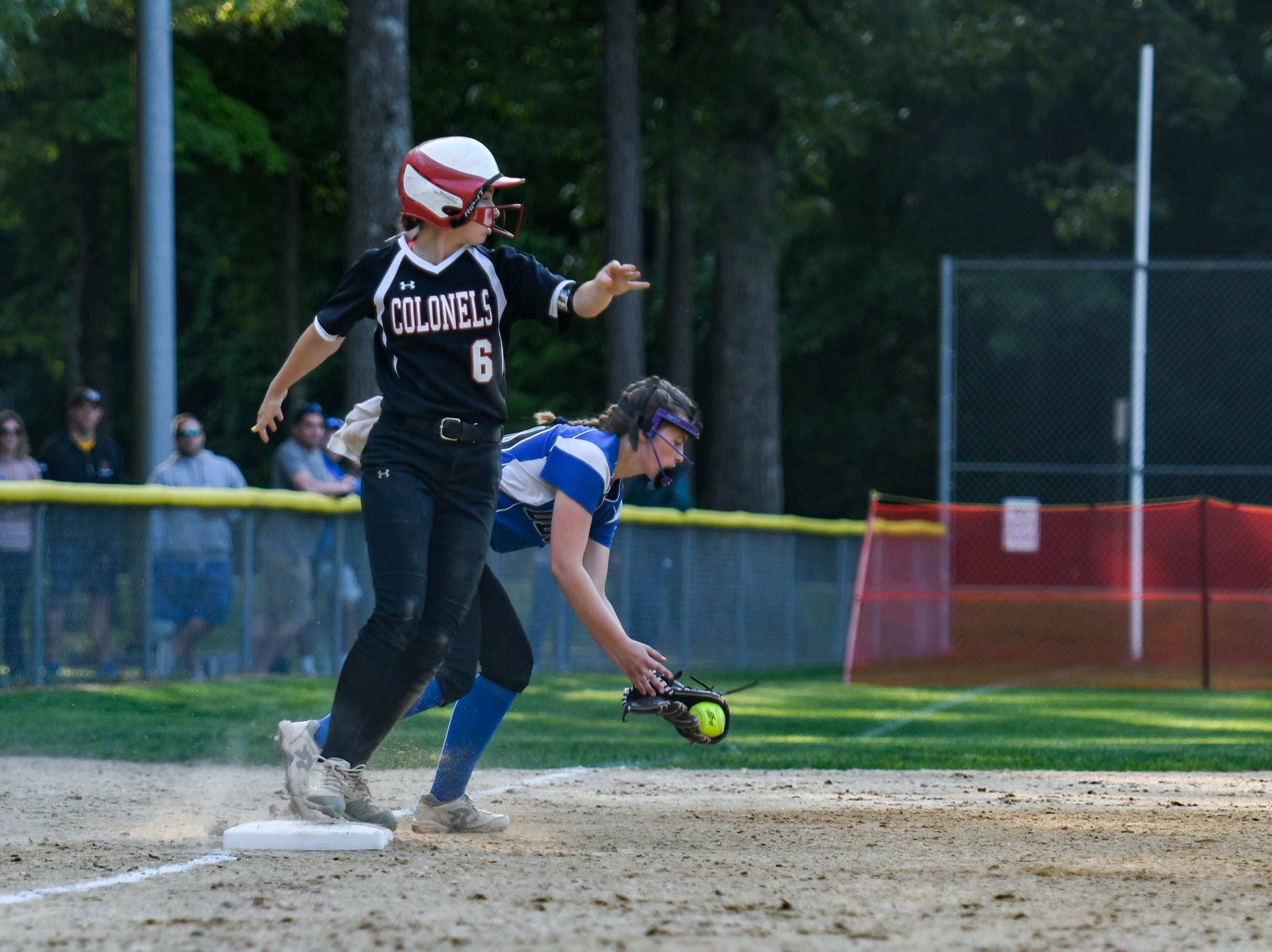Colonel Richardson's Jen Larrimore (6) rounds third base against Decatur in the Bayside Softball Championship game on Wednesday, May 8, 2019. Decatur prevailed with a score of 4 to 1.