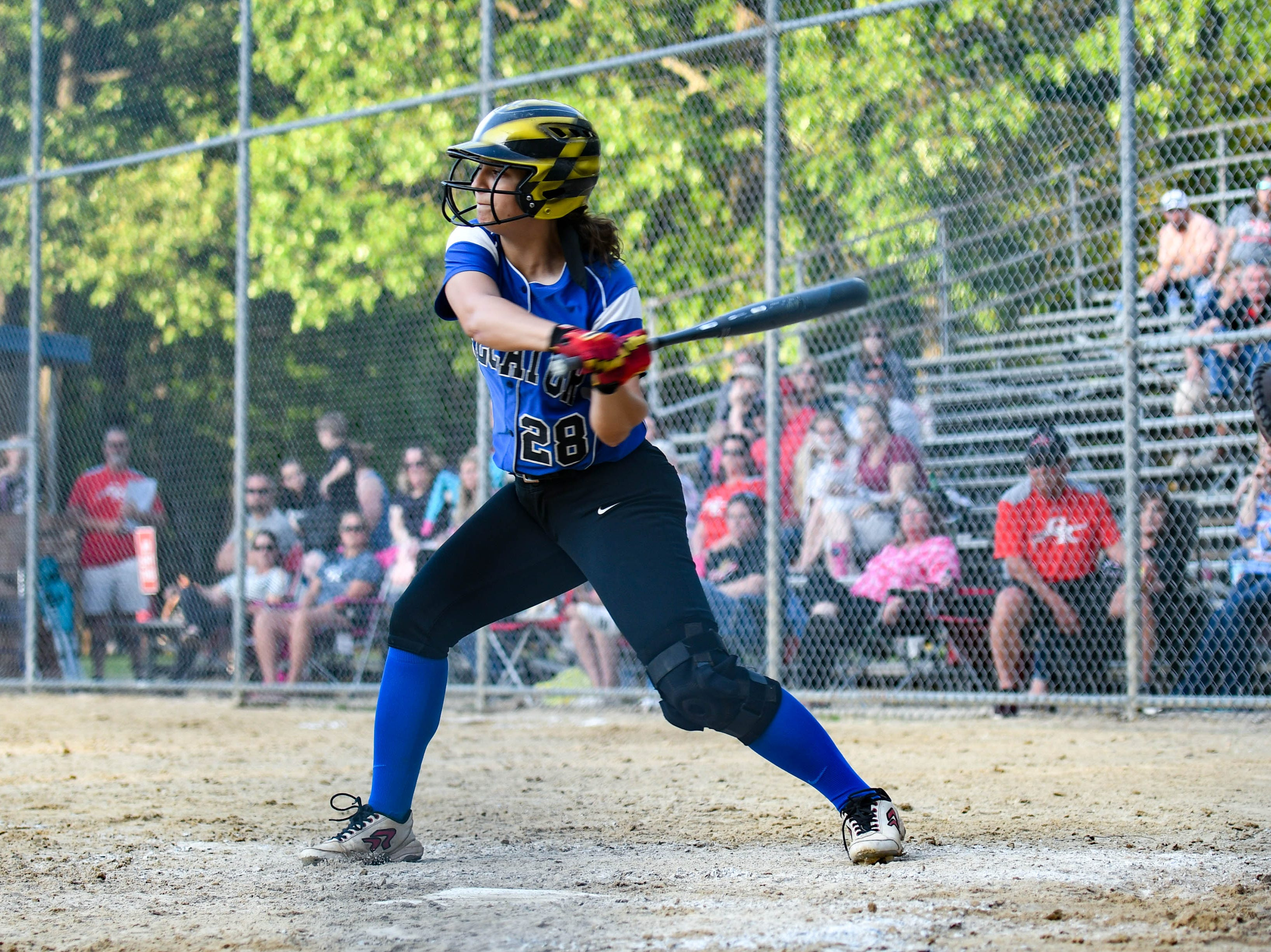 Decatur's Sierra Eisemann (28) bats up against Colonel Richardson in the Bayside Softball Championship game on Wednesday, May 8, 2019. Decatur prevailed with a score of 4 to 1.
