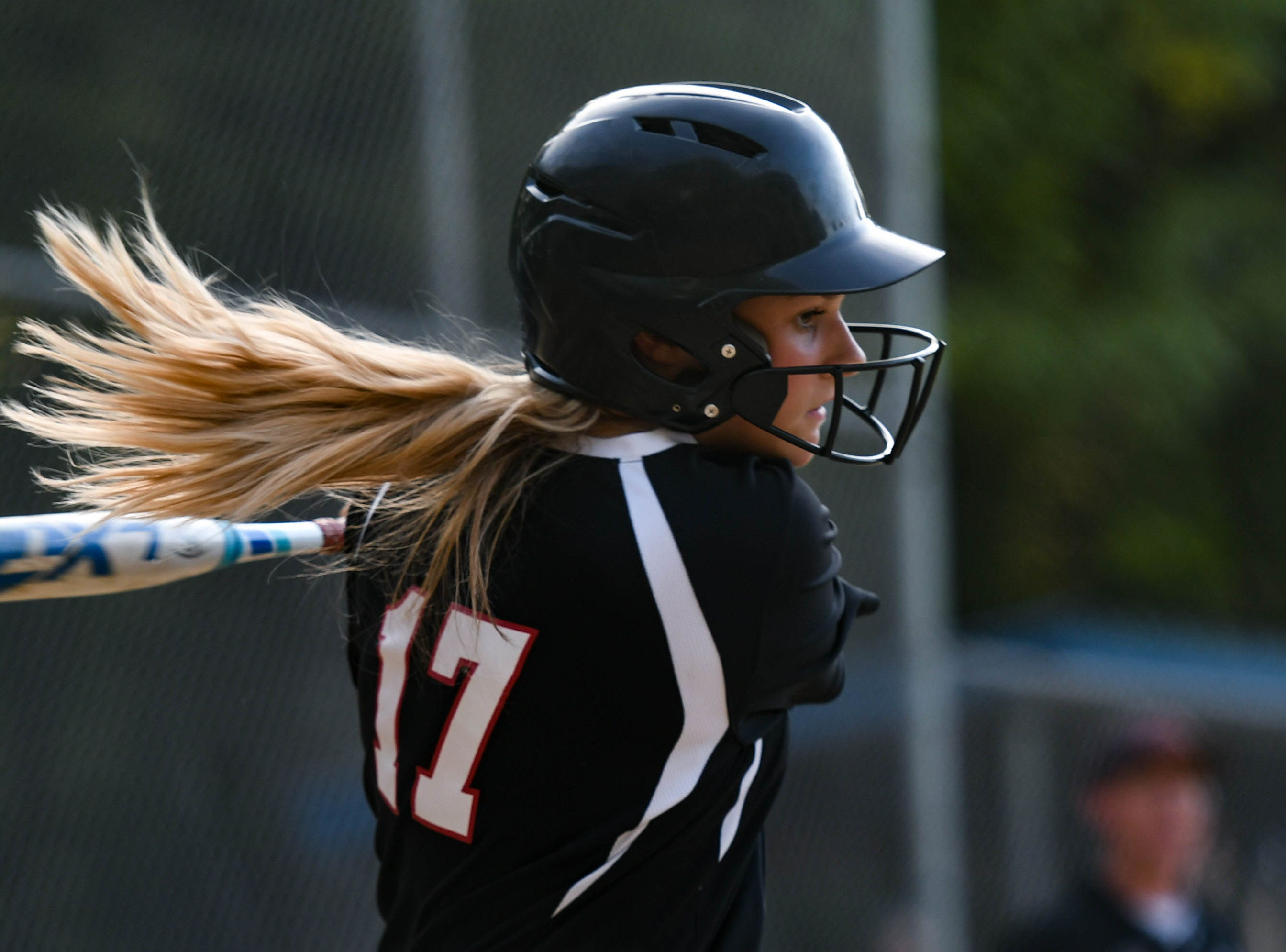 Colonel Richardson's Madison Covey (17) bats up against Decatur in the Bayside Softball Championship game on Wednesday, May 8, 2019. Decatur prevailed with a score of 4 to 1.