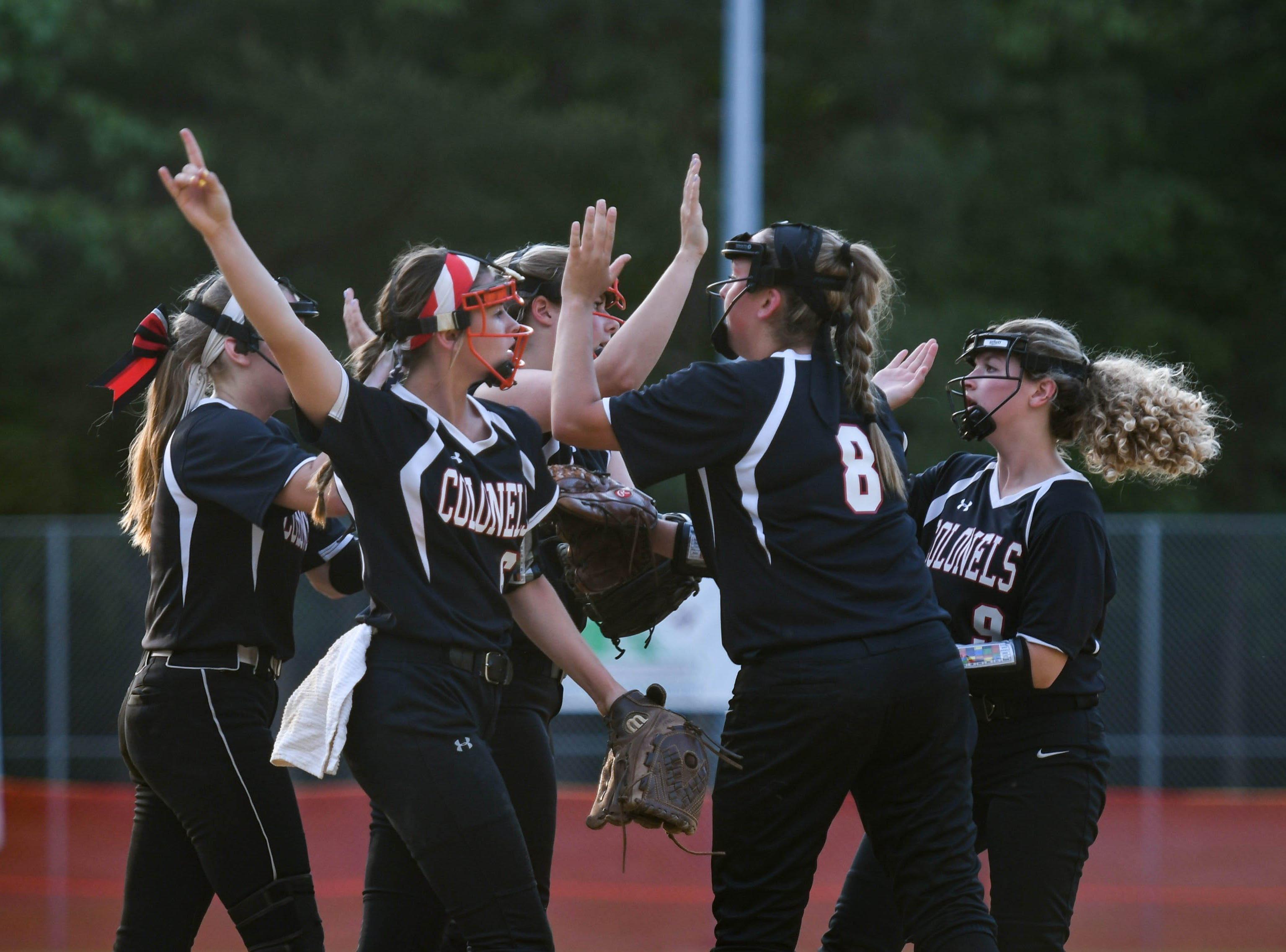 Colonel Richardson cheers after a strike against Decatur in the Bayside Softball Championship game on Wednesday, May 8, 2019. Decatur prevailed with a score of 4 to 1.