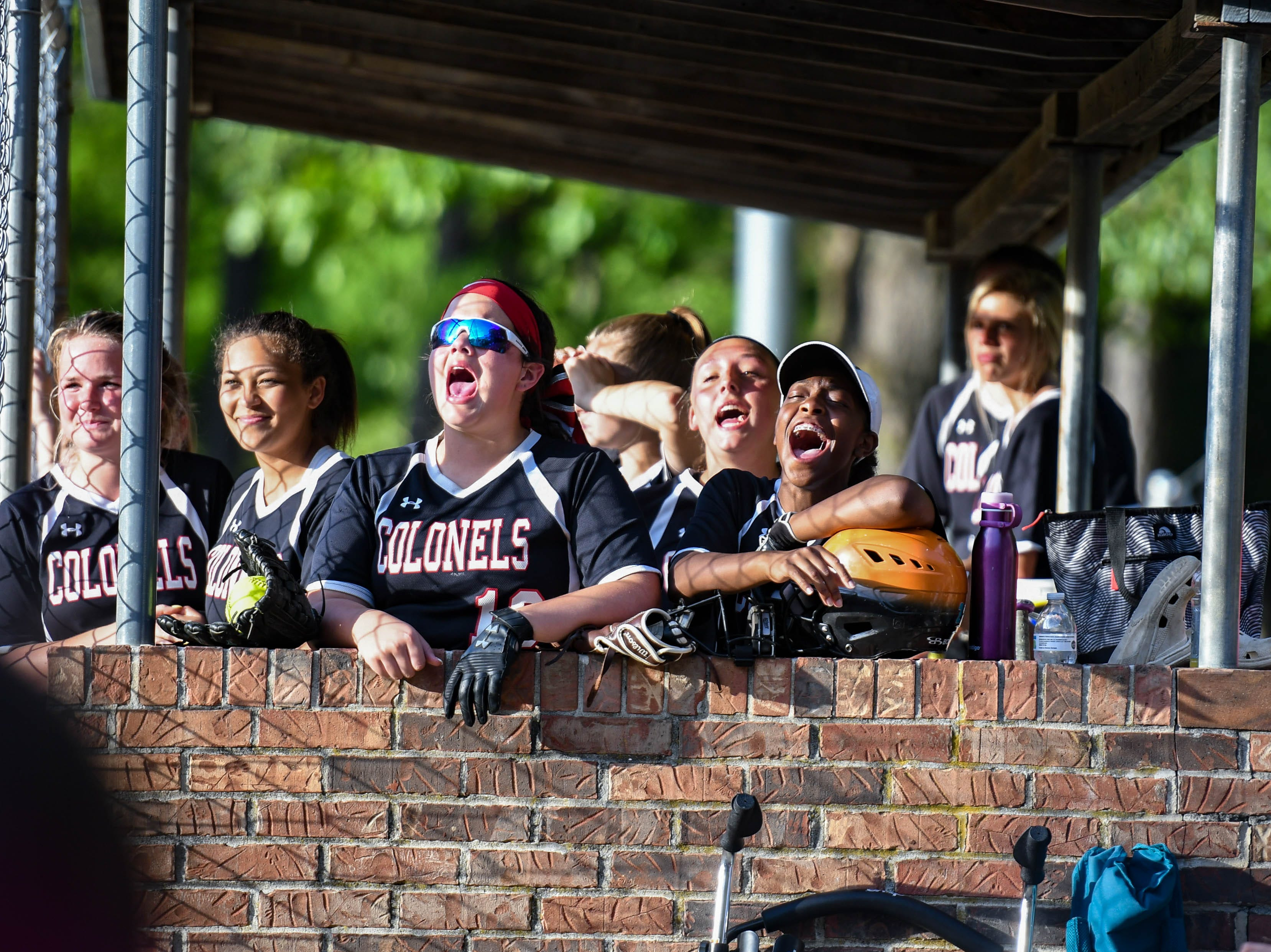The Colonel Richardson's team cheers during the game against Decatur in the Bayside Softball Championship game on Wednesday, May 8, 2019. Decatur prevailed with a score of 4 to 1.
