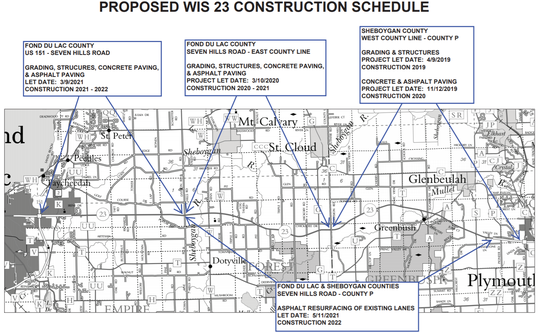 A map including construction dates from the Wisconsin Department of Transportation
