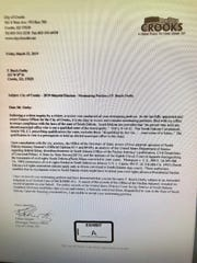 Letter from Crooks' city finance officer to mayoral candidate Butch Oseby.