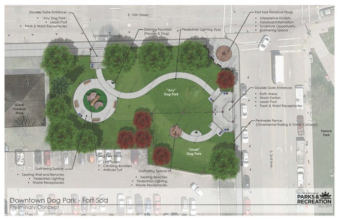 Map shows the proposed location for a new dog park in downtown Sioux Falls.