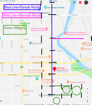 The parade route for the June 15 pride parade.
