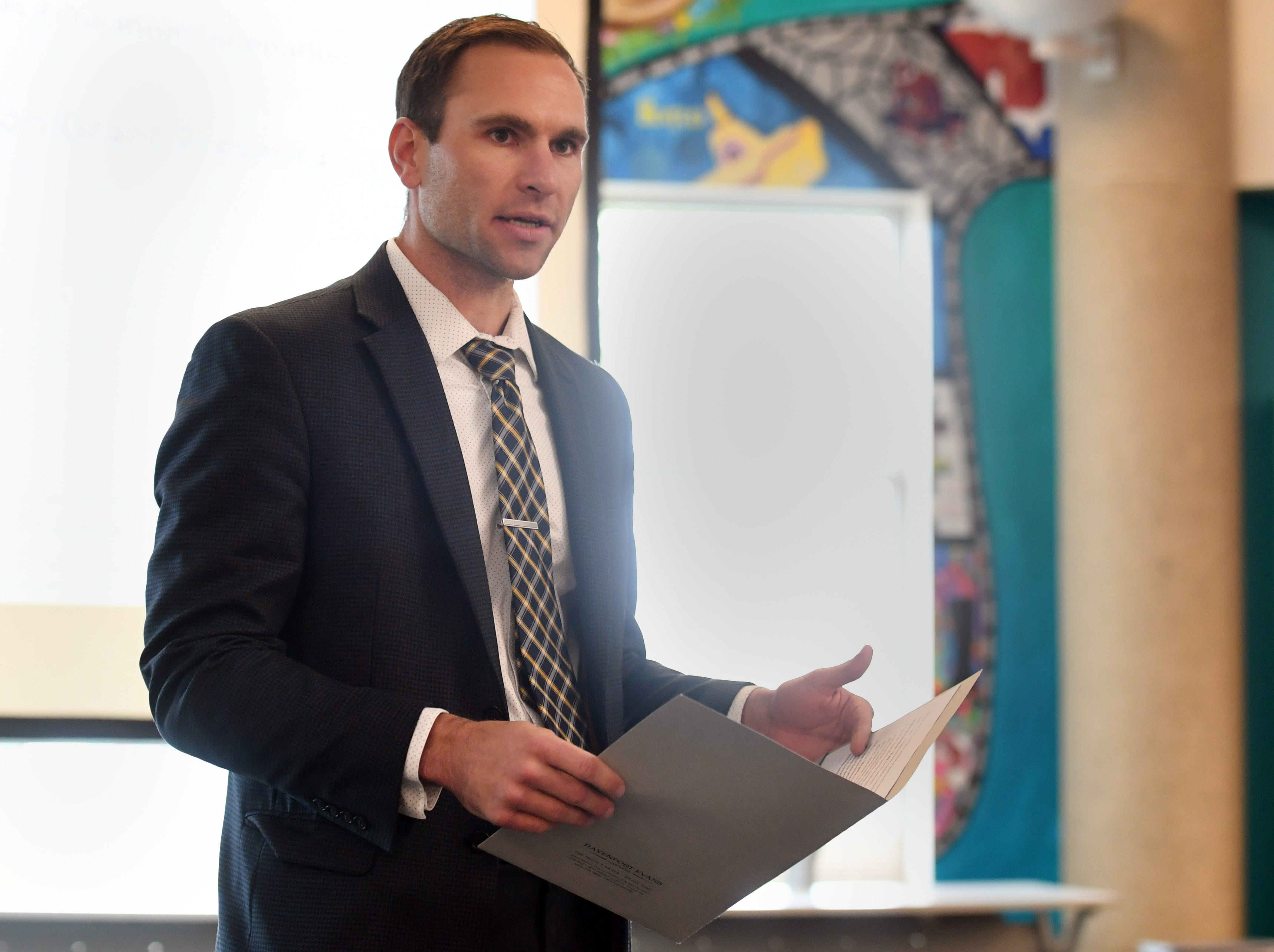 Reece Almond presents Innovation in Education grants from the Sioux Falls Public School Education Foundation on Wednesday, May 8, at Washington High School.