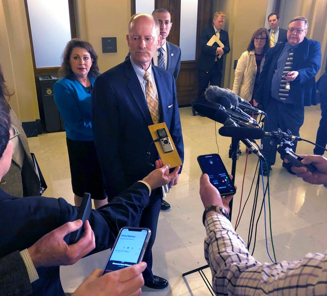 Republican Minnesota Senate Majority Leader Paul Gazelka speaks with reporters at the state Capitol in St. Paul, Minnesota, on Monday, May 6.