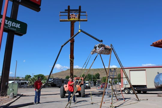 "The ""Giant Spider"" sculpture found a new home in St. George at Morgan Pest Control Wednesday, May 8, 2019."