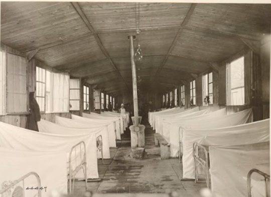 A World War I camp hospital. Pvt. Sylvester Mushinski died of disease during his service.