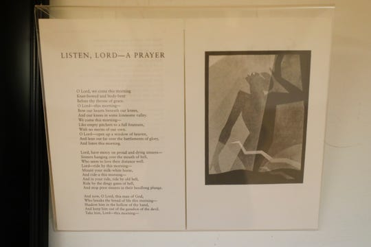 The Seven Sermons exhibit by James Weldon Johnson is on display at the Anderson Brickler Gallery Wednesday, May 8, 2019.
