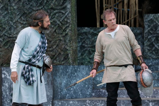 Banquo (Dan Kahn) and Macbeth (Marc Singer) are shocked to hear prophecies about their future successes .