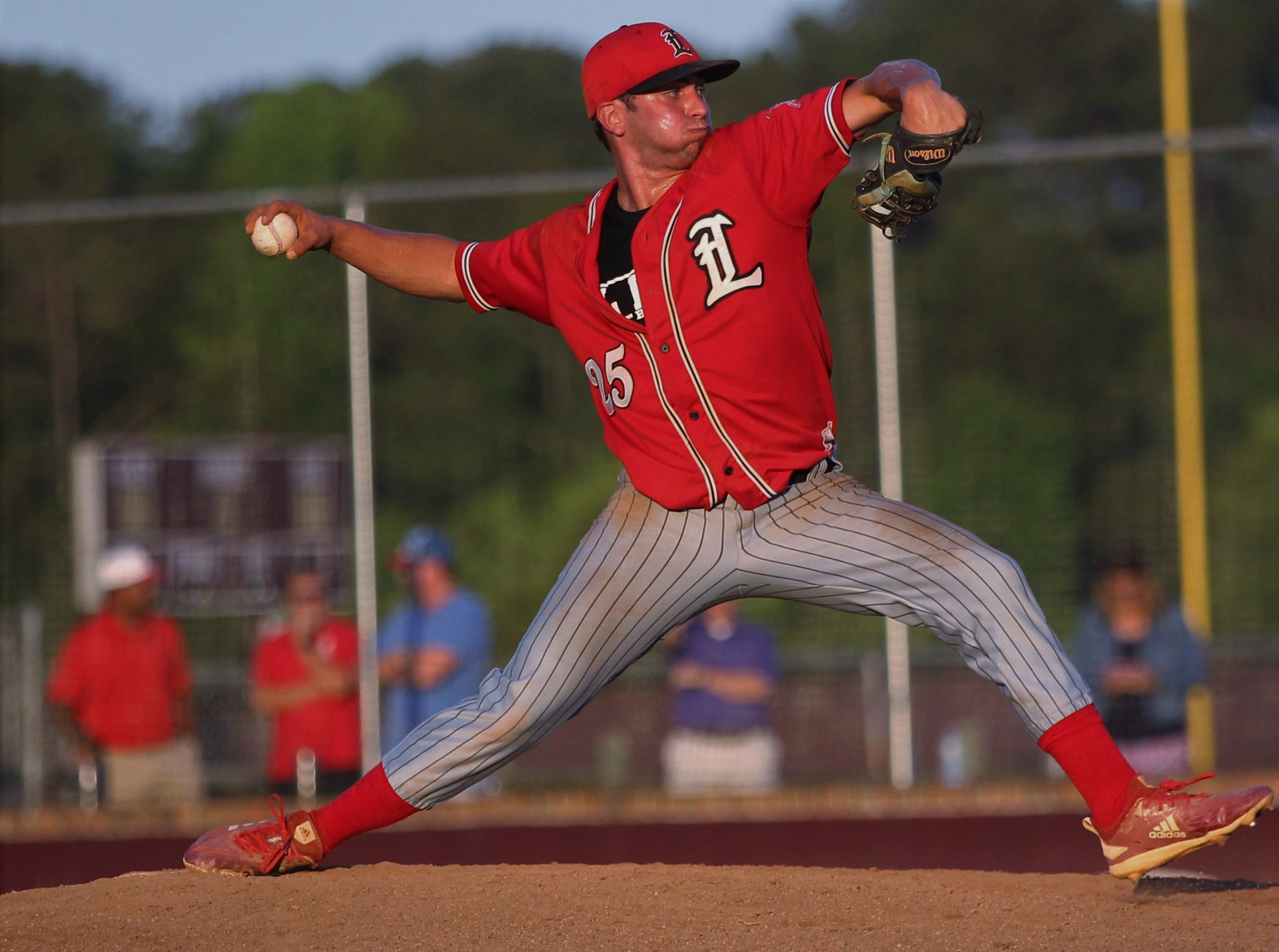 Leon senior Tyler Borges pitches as Chiles beat Leon 10-6 during a District 2-8A semifinal on May 7, 2019.