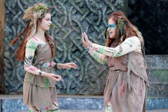"""Two of the witches (Katherine M. Ruiz and Miriam Dady) cast their spells in Southern Shakespeare Festival's production of """"Macbeth."""""""