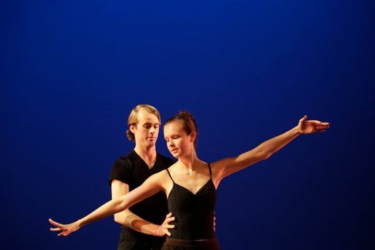 """Tallahassee Ballet dancers Ben Howard and Paige Centers practice together on stage during a rehearsal for the 2018-2019 season finale show """"Bernstein & Gershwin!"""" at Ruby Diamond Tuesday, May 7, 2019."""