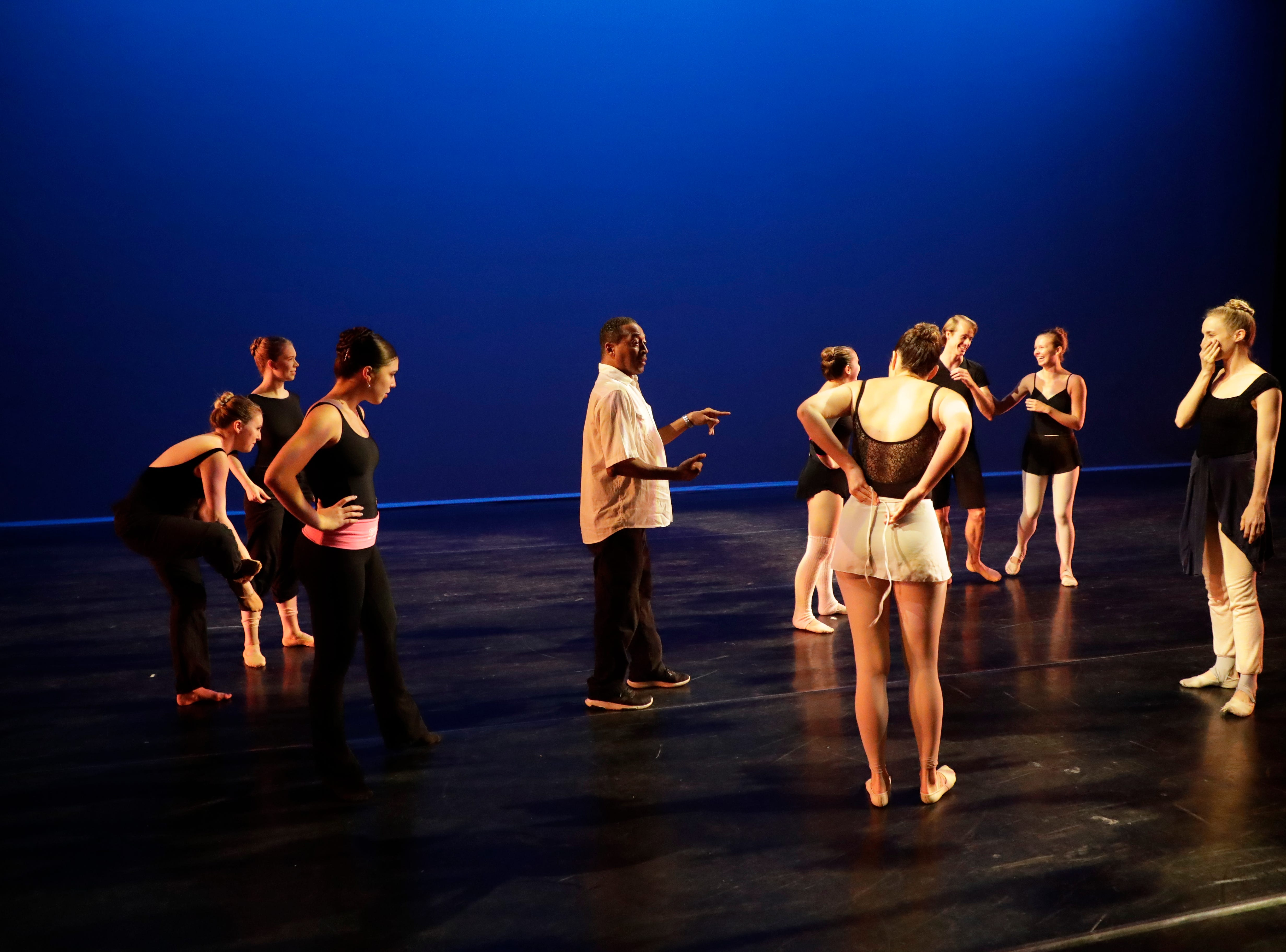 "Tallahassee Ballet Artistic Director Tyrone Brooks instructs dancers during a rehearsal for the 2018-2019 season finale show ""Bernstein & Gershwin!"" at Ruby Diamond Tuesday, May 7, 2019."
