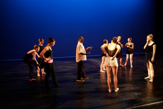 """Tallahassee Ballet Artistic Director Tyrone Brooks instructs dancers during a rehearsal for the 2018-2019 season finale show """"Bernstein & Gershwin!"""" at Ruby Diamond Tuesday, May 7, 2019."""
