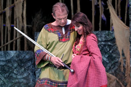 "Macbeth (Marc Singer) and Lady Macbeth (Laura Johnson) plot together to make a prophecy come true in Southern Shakespeare Festival's production of ""Macbeth."""