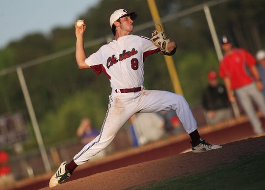 Chiles senior Cameron Kelly pitches as Chiles beat Leon 10-6 during a District 2-8A semifinal on May 7, 2019.