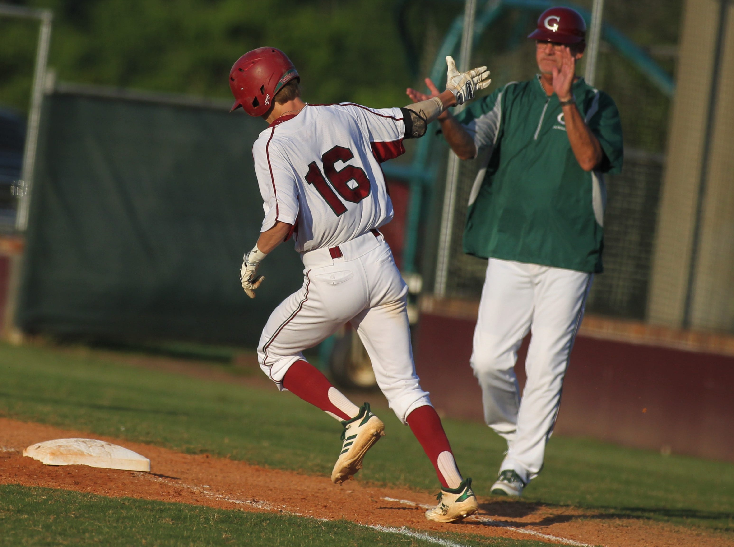 Chiles senior Sam Rudd rounds the bases after hitting a solo home run as Chiles beat Leon 10-6 during a District 2-8A semifinal on May 7, 2019.