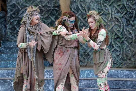 """The three witches (Patricia Carrico, Miriam Dady and Katherine M. Ruiz) cast their spells in Southern Shakespeare Festival's production of """"Macbeth."""""""