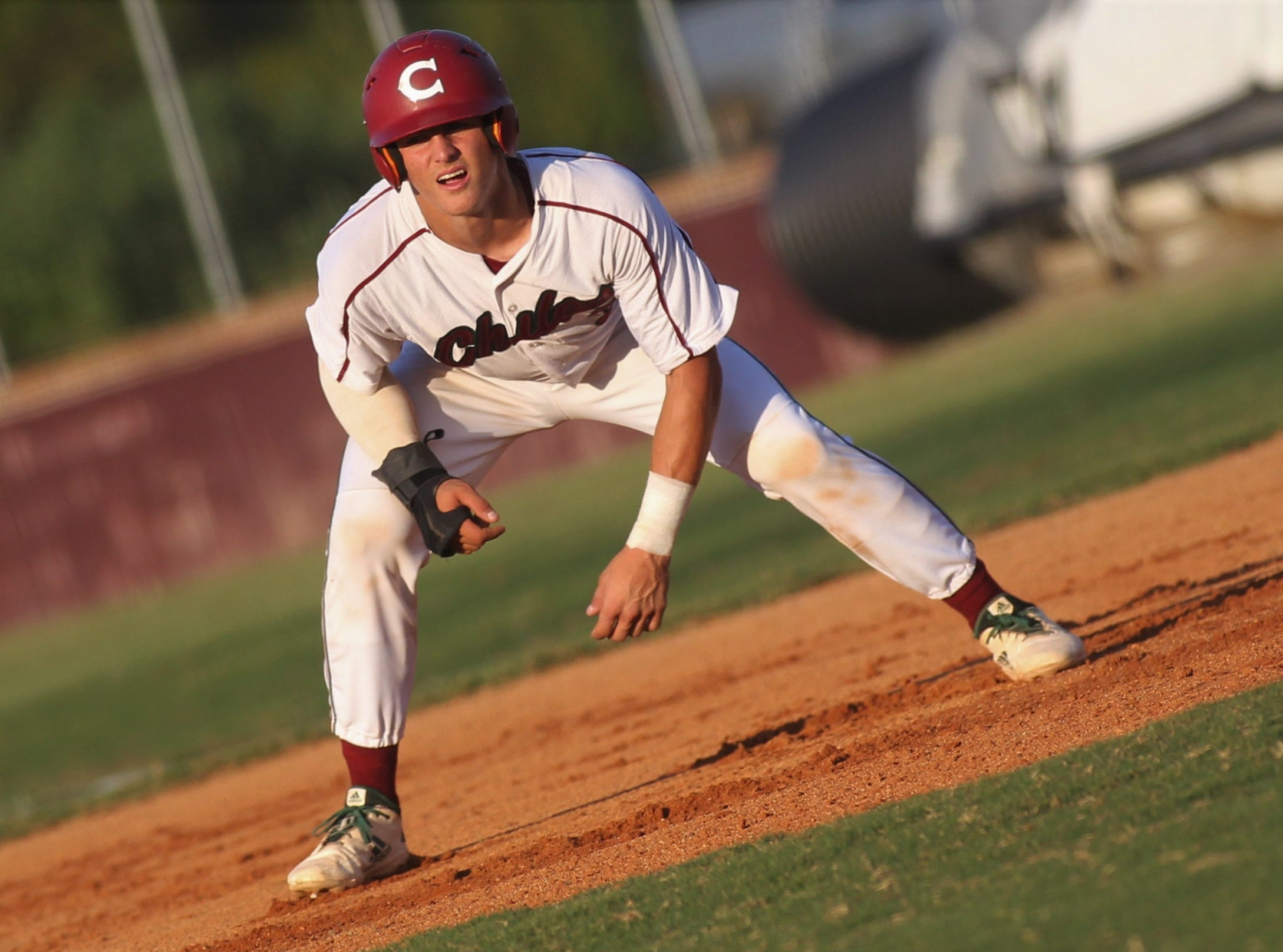 Chiles junior Garrett Greene takes a lead off first as Chiles beat Leon 10-6 during a District 2-8A semifinal on May 7, 2019.