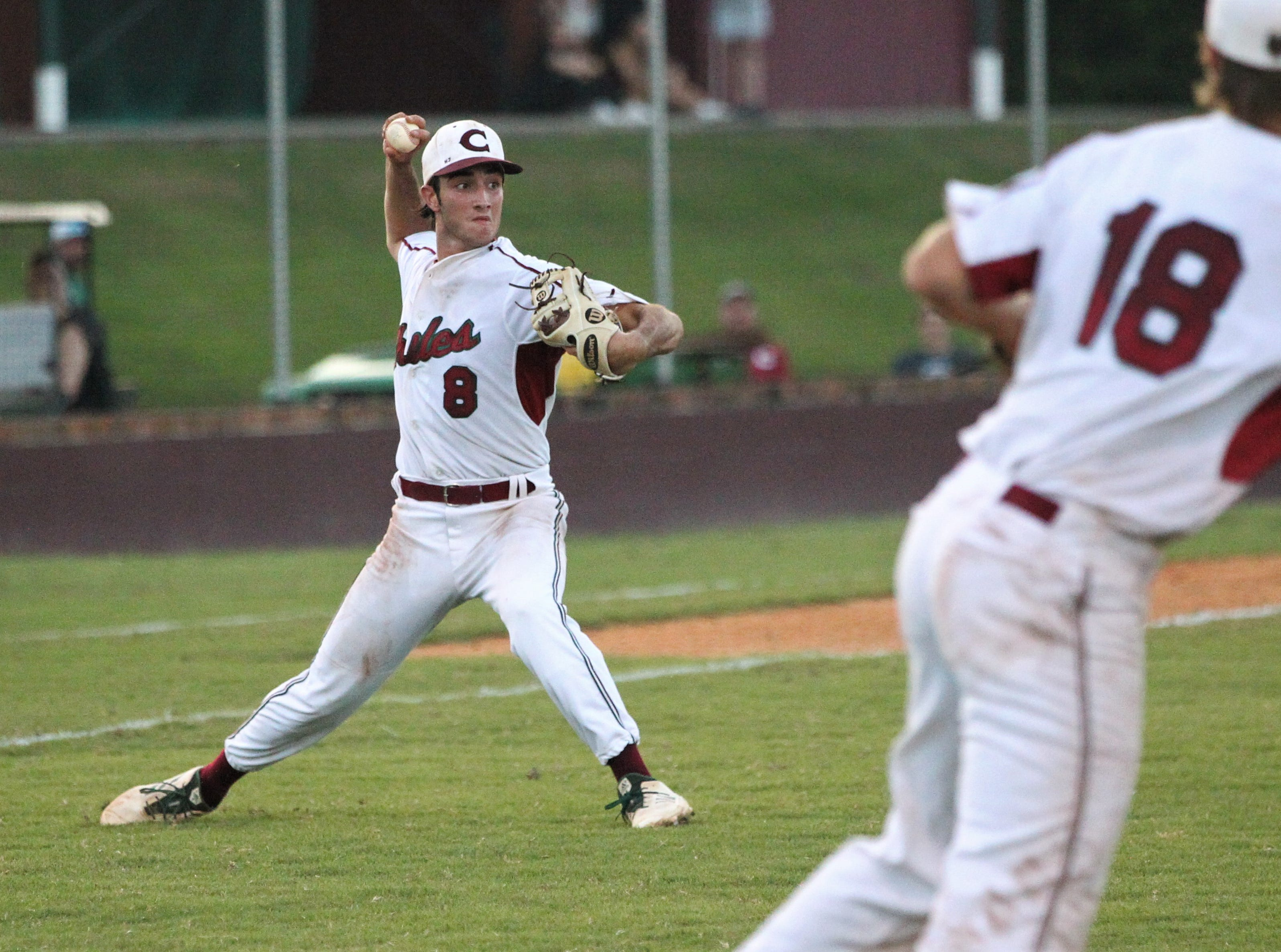 Chiles senior pitcher Cameron Kelly fields his position on a bunt as Chiles beat Leon 10-6 during a District 2-8A semifinal on May 7, 2019.