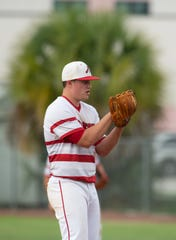 Vero Beach senior Nick Celidonio prepares to throw a pitch in the District 7-9A semifinal on May 7, 2019.