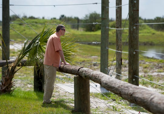 Jason Nunemaker, the city manager of Fellsmere, looks over the work completed at the National Elephant Center February 20, 2013, in Fellsmere. The center broke ground in April 2012 , but eventually closed.