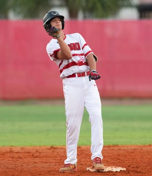 Vero Beach's Jake Randolph celebrates during the Fighting Indians' District 7-9A semifinal against Fort Pierce Central on May 7, 2019. Randolph committed to the University of Miami on Monday night.