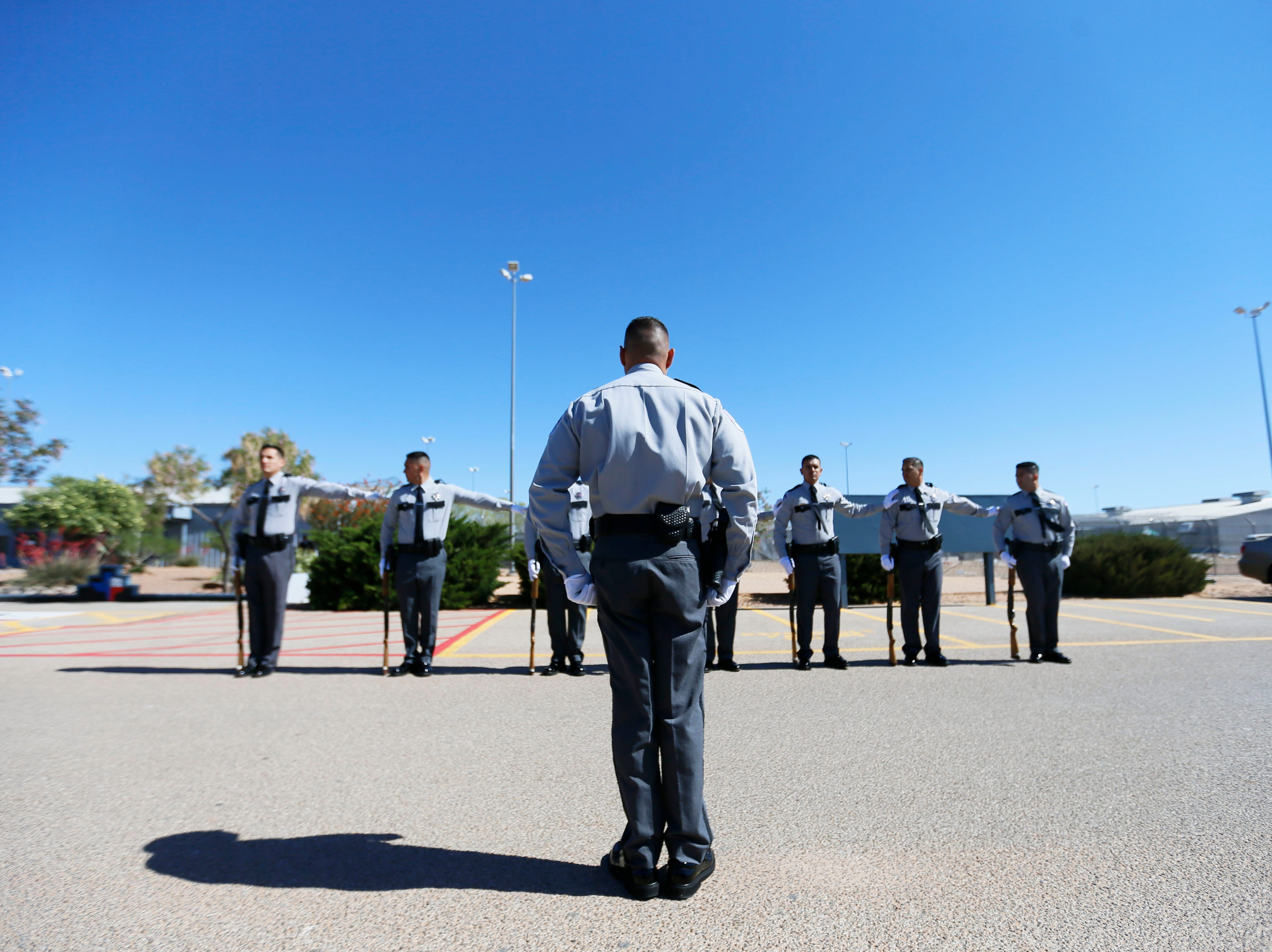 Correctional officers gather to honor the memory of fallen officers Wednesday, May 8, at Rogelio Sanchez State Jail in El Paso.