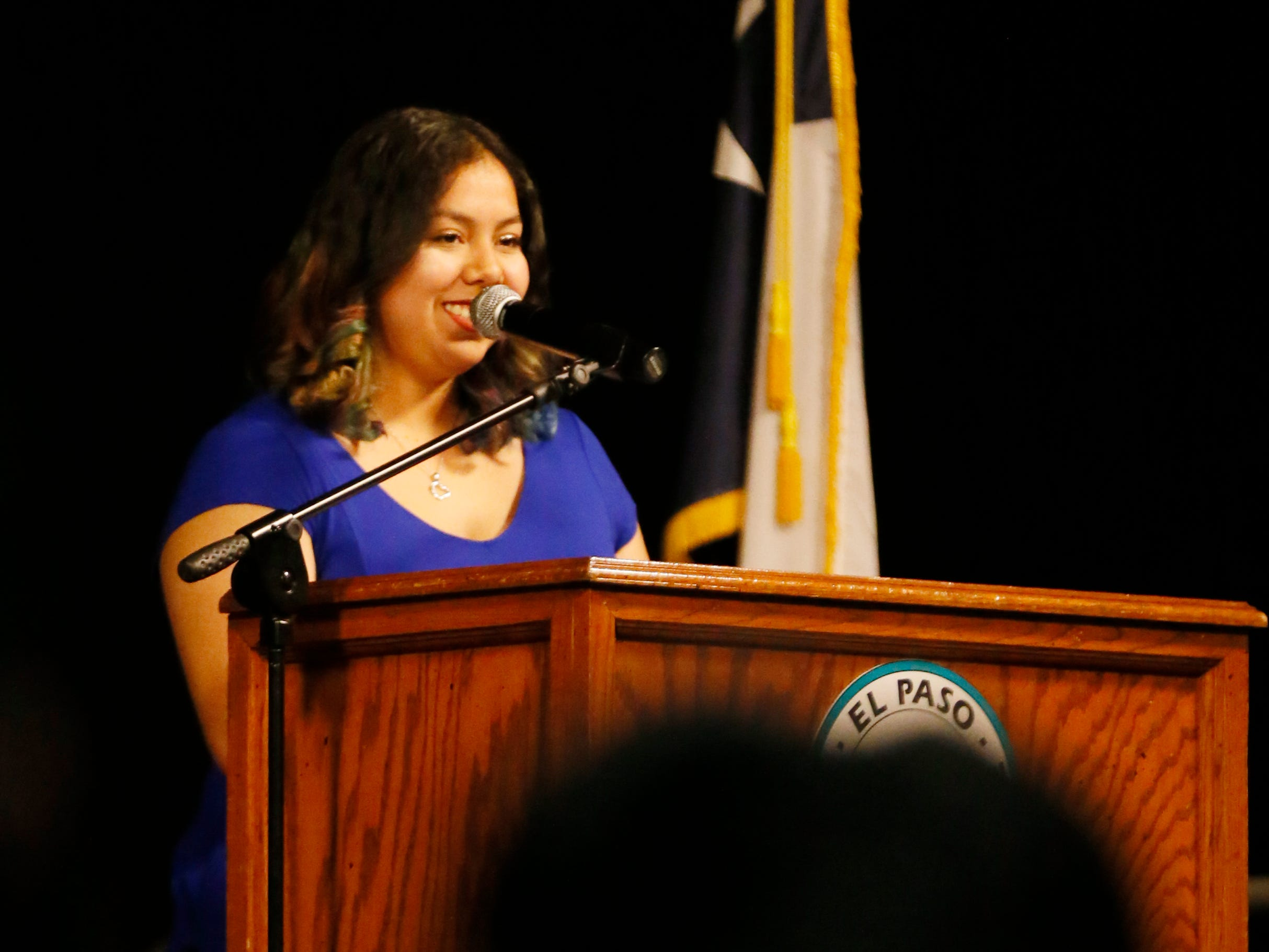 Mission Early College High School student Alexa Ochoa gives a speech to her class Tuesday, May 7, at stoling ceremony at EPCC Administrative Service Center in El Paso.