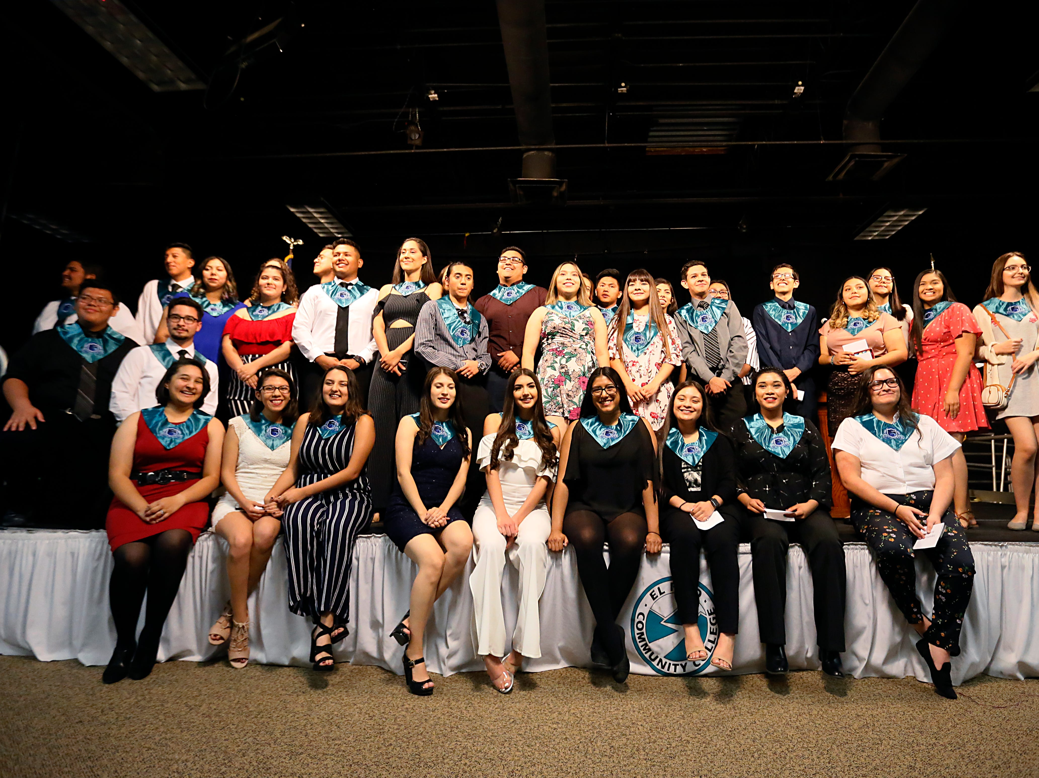 Mission Early College High School students celebrate earning their associate degree Tuesday, May 7, at stoling ceremony at EPCC Administrative Service Center in El Paso.