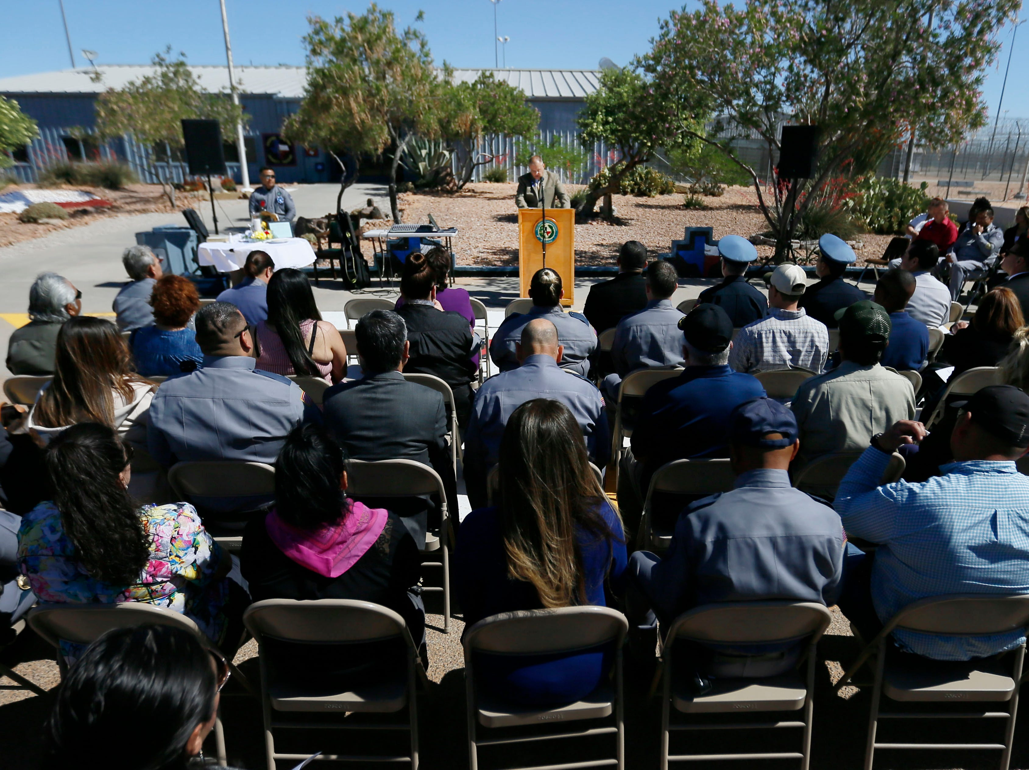 Senior Warden Keith Gorsuch speaks during the gathering to honor the memory of fallen correctional officers Wednesday, May 8, at Rogelio Sanchez State Jail in El Paso.