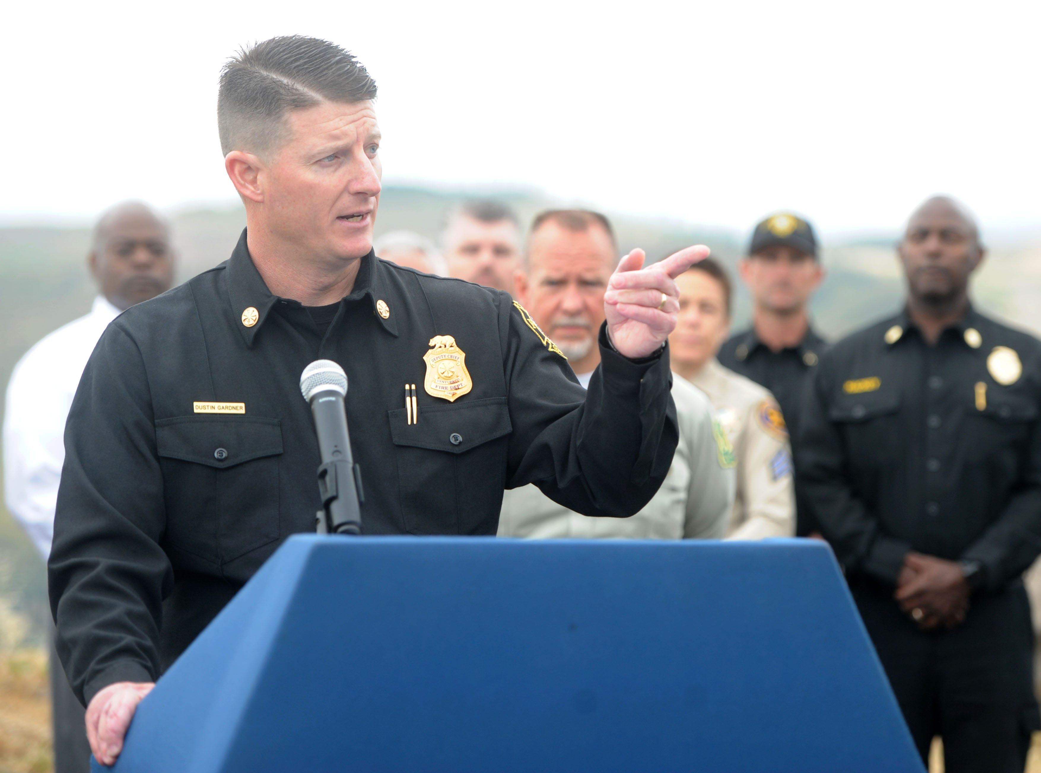 Deputy Chief Dustin Gardner of the Ventura County Fire Department speaks to the media about fire danger Wednesday at the Reagan Library in Simi Valley.