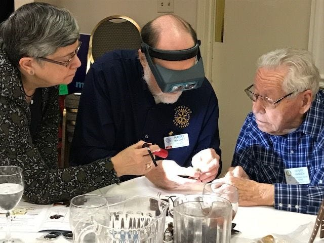 """(From left) Eileen Duffy, Harry Maloney and Henry Hansen were a team during the Rotary Club of Vineland's recent """"Helping Hands"""" service event."""