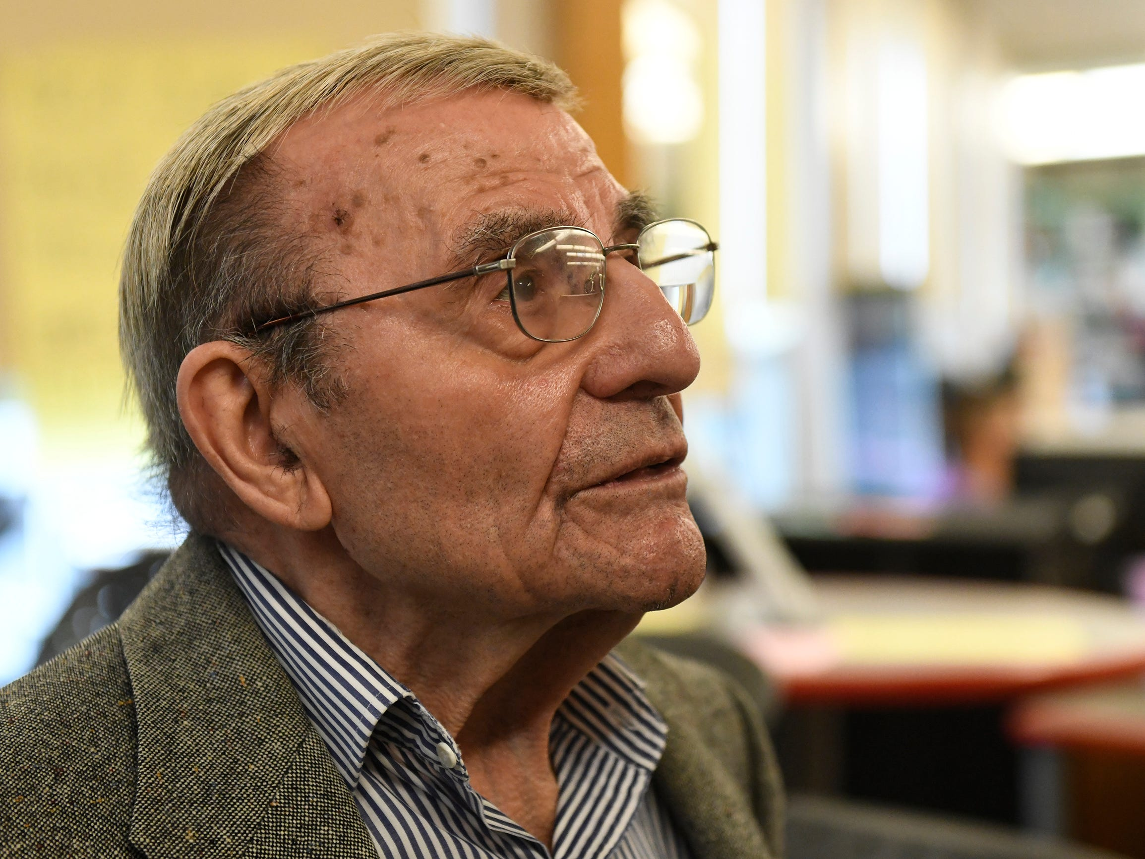 Holocaust survivor Isadore Randel attends the Kuhnreich/Teichman/Media Holocaust Research Center and Permanent Exhibit unveiling at Vineland High School on Wednesday, May 8, 2019.