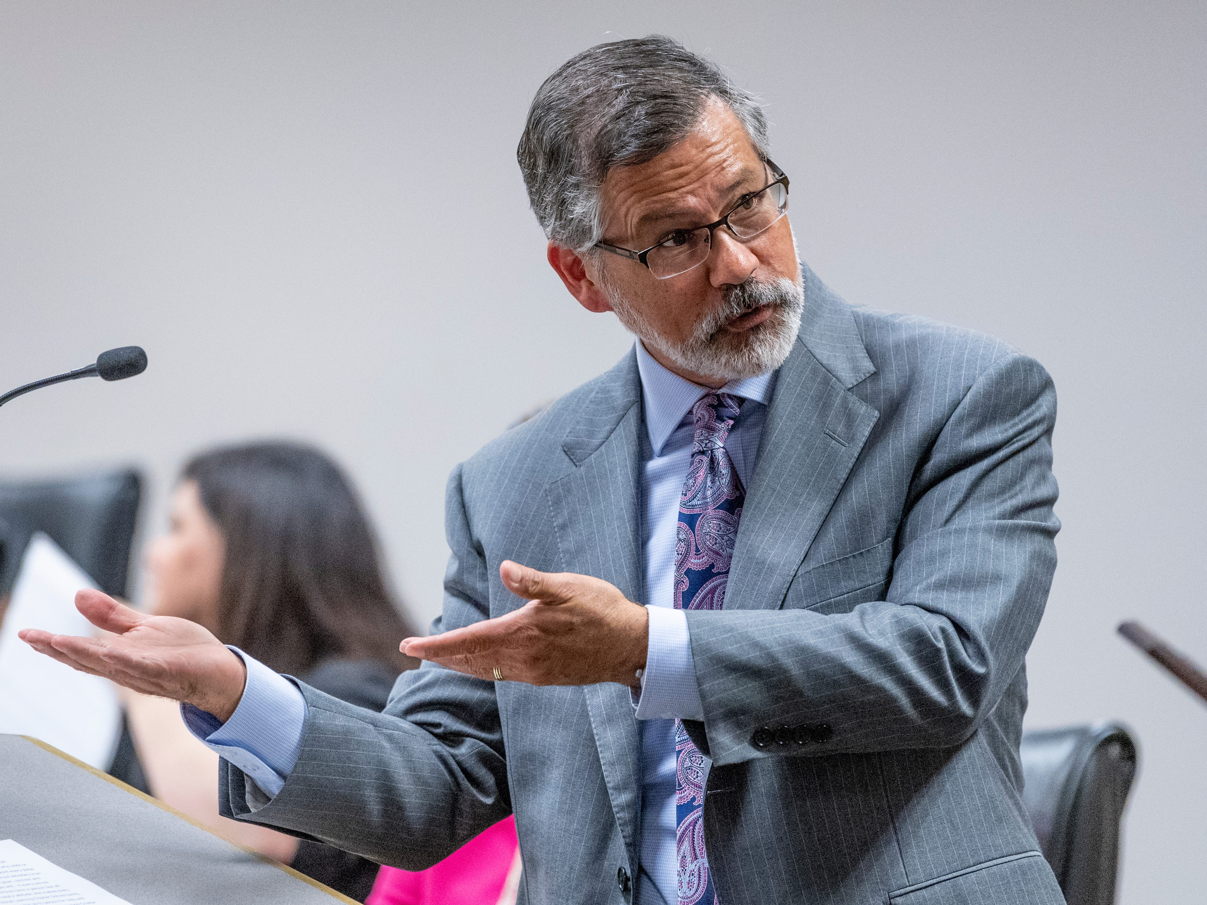 Superintendent Todd Oto announces teachers of the year during a Visalia Unified School board meeting on Tuesday, May 7, 2019.