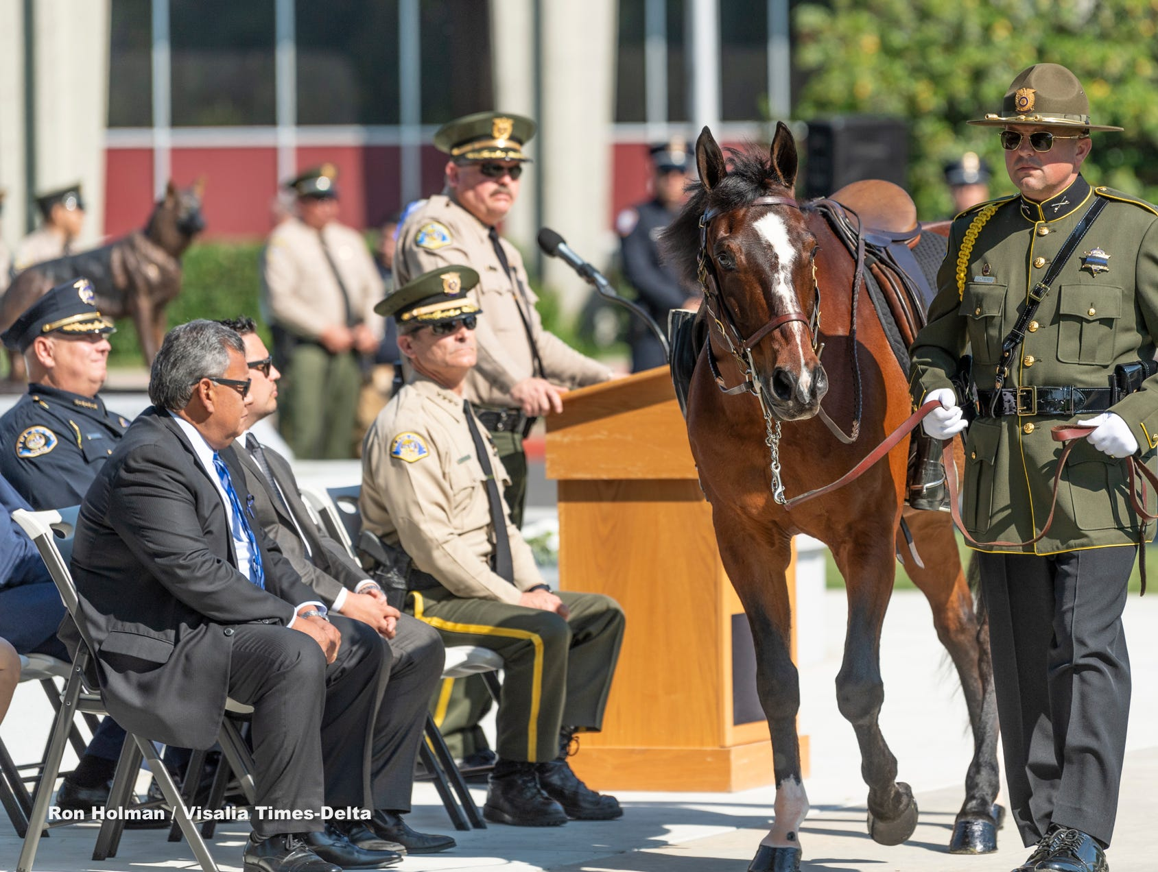A riderless horse passes during the Tulare County Peace Officer Memorial Ceremony on Wednesday, May 8, 2019.