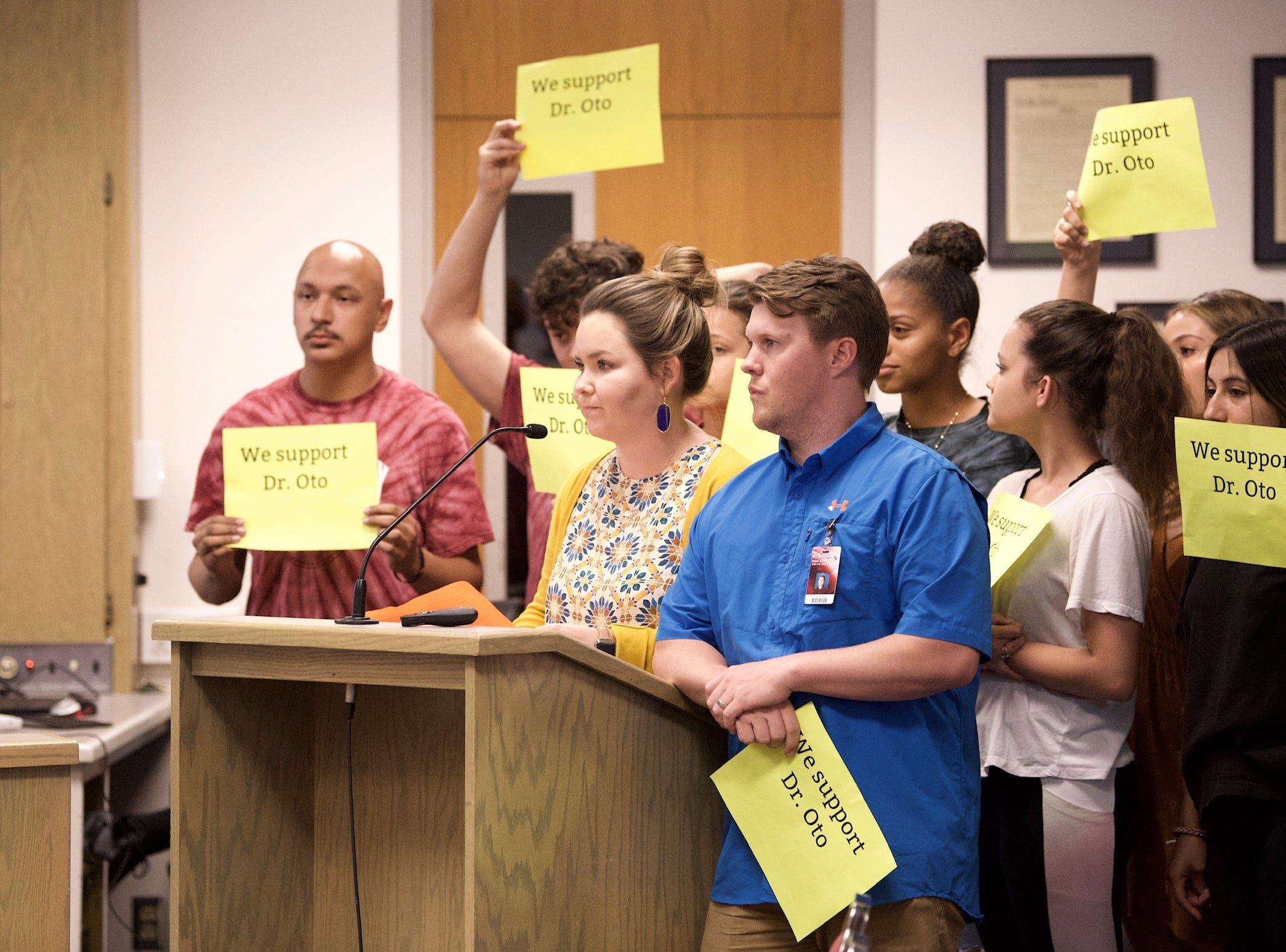 Mt. Whitney High School teacher Audra Naylor speaks to Visalia Unified School District board.