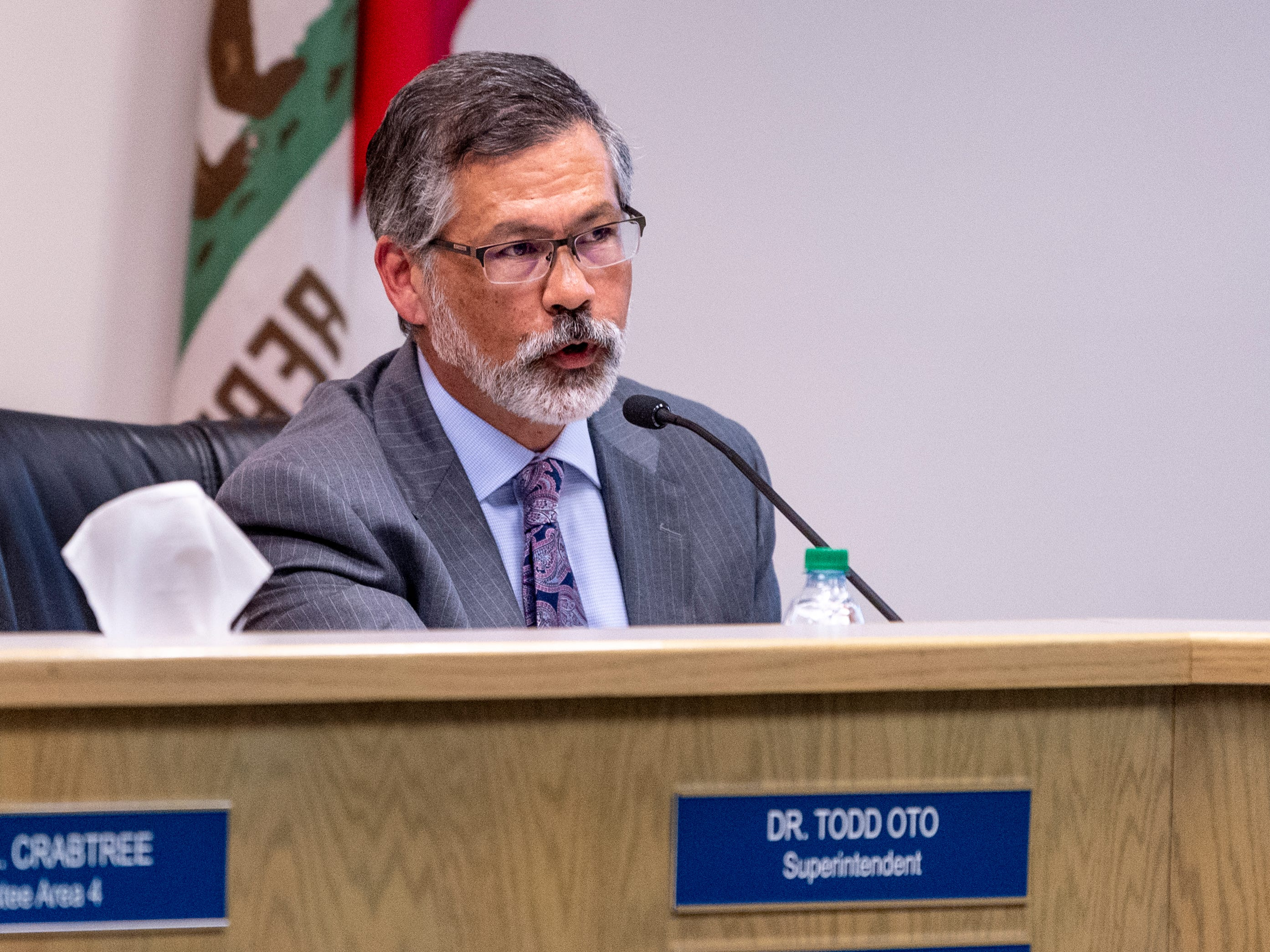Superintendent Todd Oto speaks after the Visalia Unified School board announced they had voted to accept his resignation on Tuesday, May 7, 2019.
