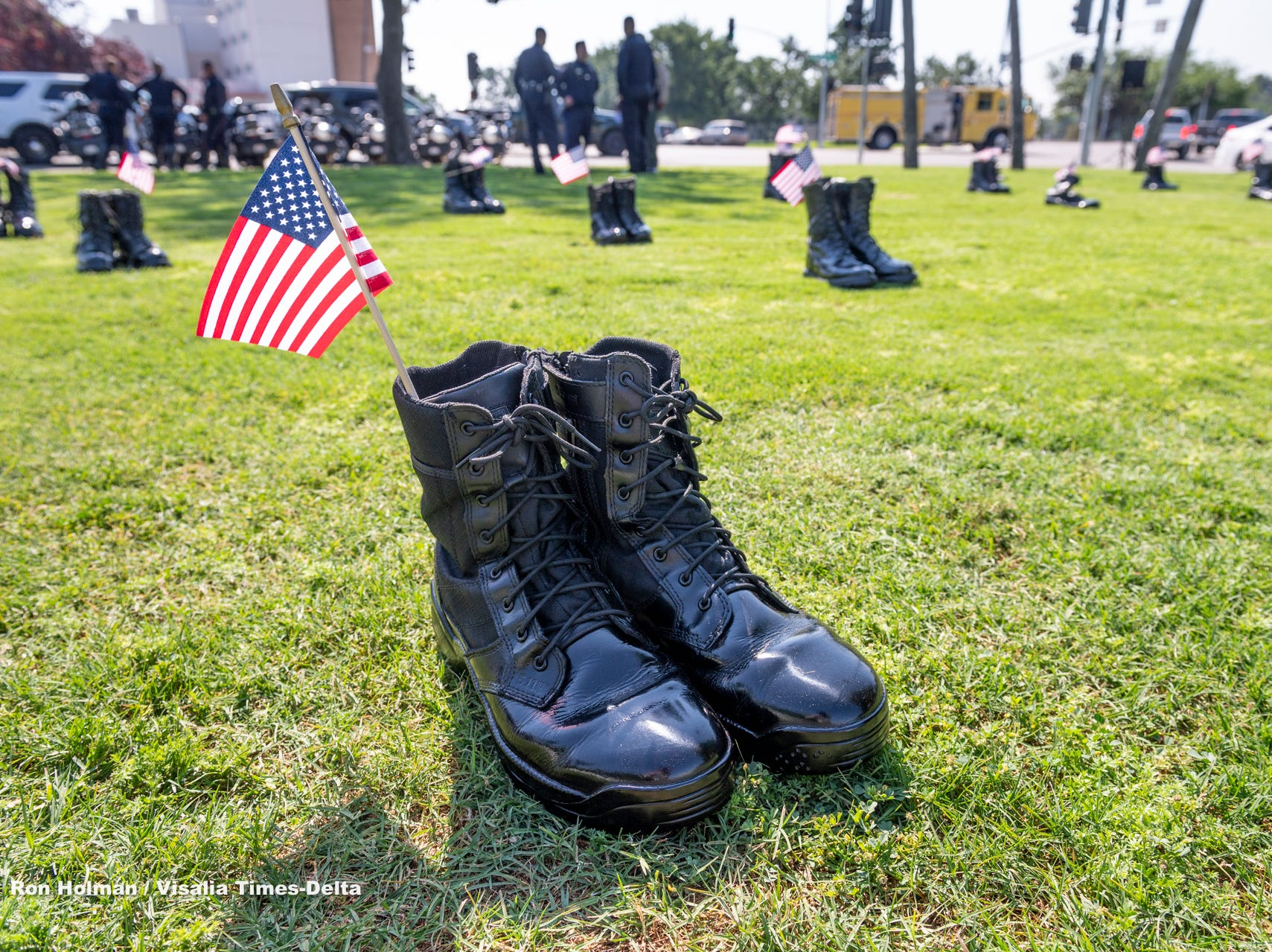 Boots on the ground representing fallen officers during the Tulare County Peace Officer Memorial Ceremony on Wednesday, May 8, 2019.